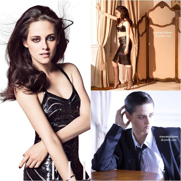 (211)13/05/2012• Et voici le magnifique photoshoot de Kristen pour Elle US plus la couverture du magasine [voir] Je trouve ce shoot vraiment superbe, je perçoit une ressemblance avec le Elle UK (la 4e photo avec la 2e de celui-ci). En même temps sa reste du Elle !