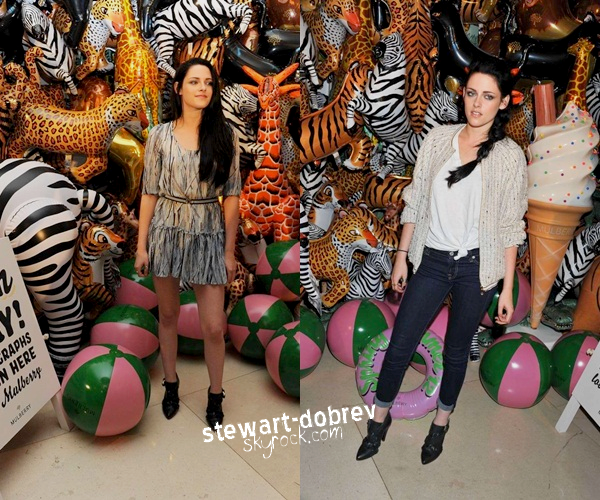 (363)26/11/2012▲▼ Kristen au défilé Mulberry pour la collection printemps/été 2011 à Londres. Le 8 septembre dernier. Elle était assise à côté de Kate Moss et Romala Garai. Kris portait évidement une robe et des chaussures Mulberry. Côté vidéos en VOSTFR par IOTBY : 1 2