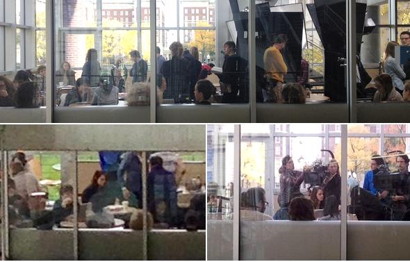 """(559)04/11/2013.FILM. ► 04 novembre : Kristen c'est rendue sur le tournage d'Anesthesia de Tim Blake Nelson à New York.  Voici quelques messages postés en complément des photos : @itsfrickinvivi """"Traque Kristen Stewart dans notre réfectoire. Si c'est la véritable raison pour laquelle notre réfectoire est fermé ce week-end, je vais frapper quelqu'un."""" lol Bwog.com - """"KStew est la brune avec la tête tournée vers la LLC, on promets."""" @Fekade1366 - """"Kristen Stewart est sur le campus!!!"""""""