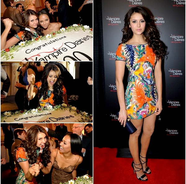 (564)10/11/2013.EVENT. ► 09 novembre : Nina ainsi que le casting de TVD ont fêtés le 100ème épisode de la série.