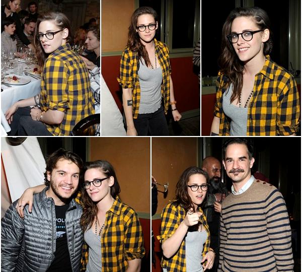 (599)17/01/2014 .17 JANVIER. ▲ Kristen était ensuite au dîner à l'after party des Sundance 2014. Elle a notamment posée avec Emile Hirsch (ancien co-star de Into the wild). Parfaite de a à z !