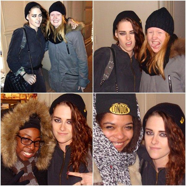"""(609)05/02/2014 .05 FEVRIER. ▲ Kris a posée avec des fans """"cette nuit"""" (une heure du matin) à Paris."""