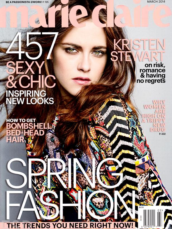 (611)09/02/2014.08 FEVRIER. ▲ Kristen sera en couverture du numéro Marie-Claire US de mars 2014, en voici les photos !