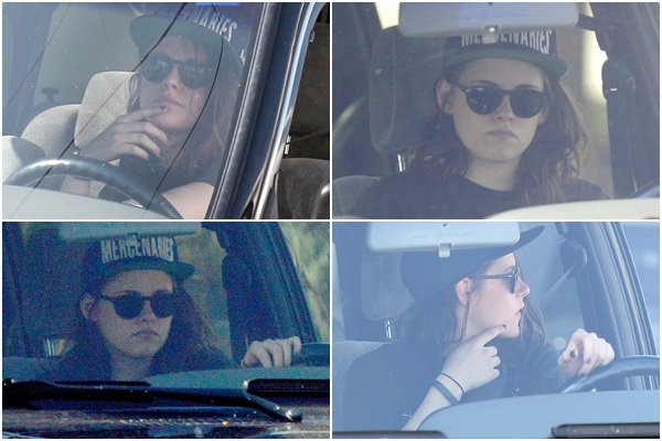 (612)10/02/2014.10 FEVRIER. ▲ Kristen au volant de sa voiture dans Los Angeles. (Passionnant)