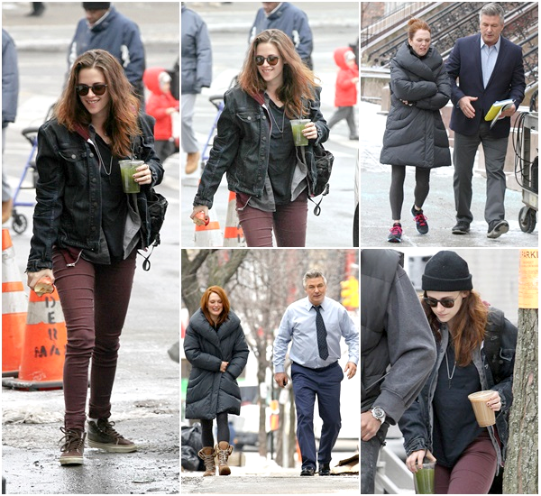 """(618)03/03/2014 .03 MARS. › Kristen sur le plateau du premier jour de tournage de """"Still Alice"""" à New-York. Il y avait aussi Julianne Moore & Alec Baldwin sur le tournage. Je dis top à la tenue de Kris."""