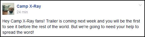 (674)31/07/2014 MOVIE | .30/07/2014. › Une bande annonce de Camp X-Ray arrive la semaine prochaine !