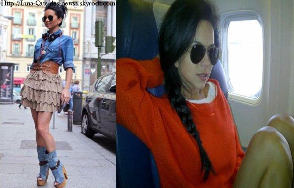 Deux nouvelles photos d' Inna. Une prise durant son séjour à Barcelone où elle dit elle même que cette photo est une de ses préférées et un seconde dans un avion !