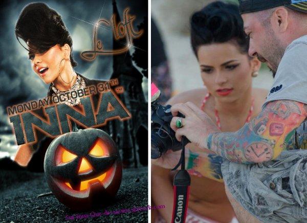 """Deux nouvelles photos : La premiere est une affiche où Inna fera un show en France à Paris au Loft """"en mode Halloween""""et la seconde, une image prise lors du making of de """"W.O.W"""""""