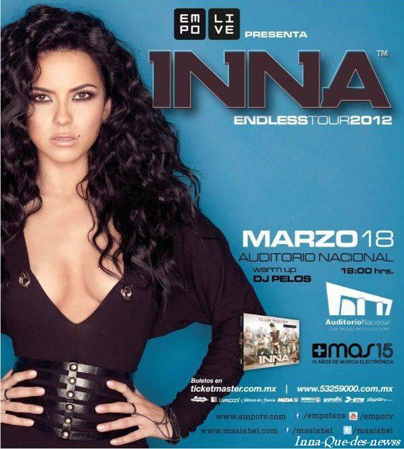 """Inna a fait une grande annonce Lundi. En effet, la chanteuse a annoncé qu'elle reviendrait au Mexique en Mars ! Le 8 Mars exactement avec une toute nouvelle tournée nommé """"Le Endess Tour 2012"""" !INNA: Endless tour 2012"""