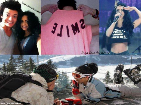 """1 Photo avec Kev Adam's, 1 Photo avec le nouveau T-shirt d' Inna, 1 de """"The Show"""" et 1 à la montage ! Ahah, trop Sexy Inna au Ski ♥"""