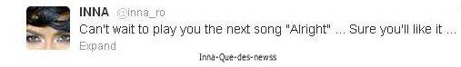 """[ New du 07 mai ] INNA met en ligne  """"Alright"""", un nouveau titre inédit produit toujours pas Play&Win + Newss!"""