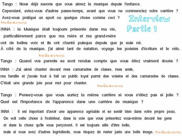 "[ New du 10 mai ] Interview EXCLUSIVE qu' INNA  a donner à ""tango"" Magagine ! [ Partie 1 ]"
