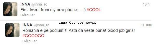 [ New du 04 aout ] Quelques paroles provenant de Twitter : Apparamment, INNA a un nouveau portable et secondo, elle remercie et soutient l'équipe de Roumanie aux J.O !