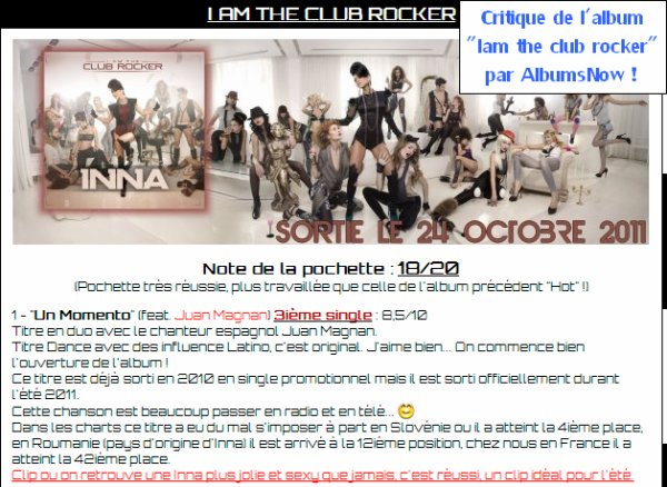 "[ Article SPECIAL du 01 octobre ] Critique de l'album ""I am the club rocker"" d' INNA !"