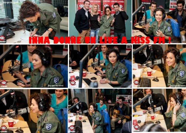 """[ New du 24 novembre ] Ce 20 novembre dernier, INNA était en Roumanie, de passage à la radio """"Kiss Fm"""", où elle a chanté """"Tu si Eu"""" et """"J'Adore"""" !"""