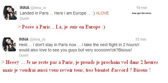 [ Article du 02 février ] INNA était aujourd'hui de passage éclair à l'aéroport de Paris pour prendre un vol. Voici ses tweets :