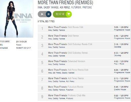 """[ Article du 10 avril ] INNA met en ligne le lien pour écouter tous les remix de """"MORE THAN FRIENDS"""" que vous pouvez télécharger légalement en cliquant sur l'aimge ci-dessous !"""
