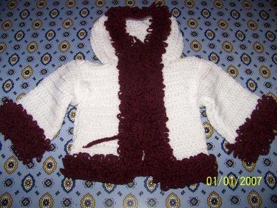 manteau a bouclette tricoté au crochet  je fais diférante tailles