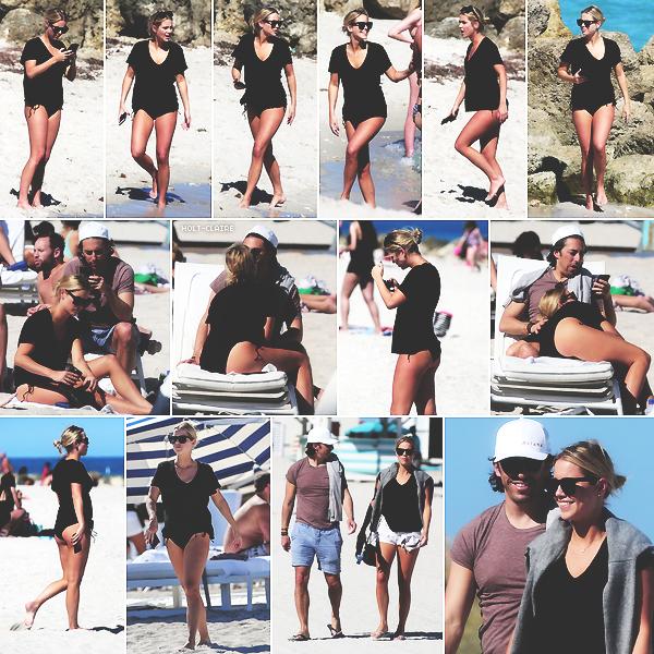 . ''16.03.18'-  ▬ Claire Holt et son fiancé Andrew Joblon ont été vu par les paparazzis sur une plage de Miami en Floride. Des news de notre blonde après un mois sans sortie ! Je la trouve toute mignonne sur cette sortie, ça fait plaisir de la voir. .