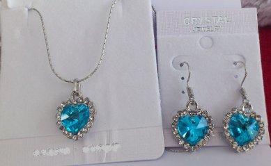 parure coeur bleu cristal argent 18k
