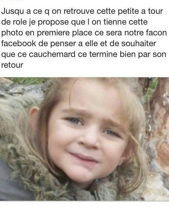 j'ai pris cette image sur facebook qui fait une chaine pour que nous ayons une pensée pour cet enfant..........................Fiona on est de tout coeur avec toi... Courage à la famille  ♥♥♥♥