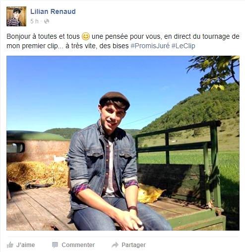"""Lilian s'est adréssé à ses fans via son compte facebook pour les prévenir du tournage de son clip de """"Promis Juré""""."""