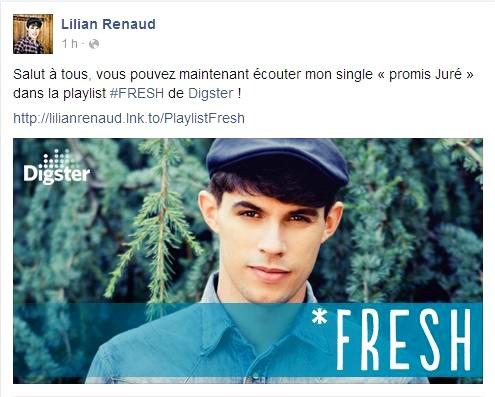 """Lilian s'est adréssé à ses fans via son compte facebook pour écouter """"Promis Juré"""" dans la playlist #FRESH de Digster."""