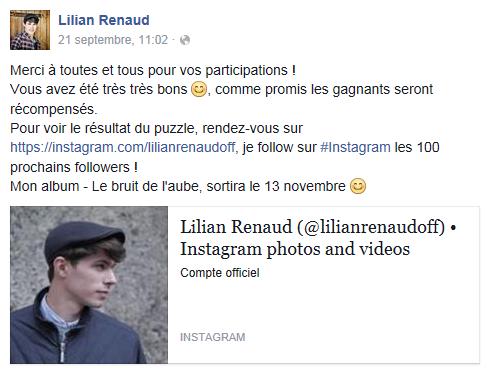 Lilian s'est adréssé à ses fans via son compte facebook pour les remercier de voter pour lui aux NMA.