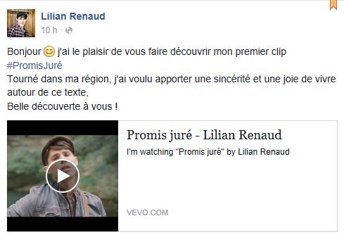 Lilian s'est adréssé à ses fans via son compte facebook pour leur faire découvrir son premier clip. #PromisJuré