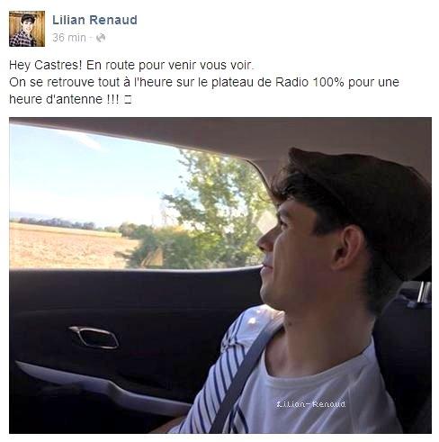 Lilian s'est adréssé à ses fans via son compte facebook pour leur annoncer son arrivée à Castres sur le plateau de Radio 100%.