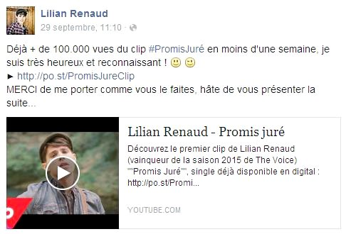 Lilian s'est adressé à ses fans via son compte Facebook pour les remercier de le soutenir.
