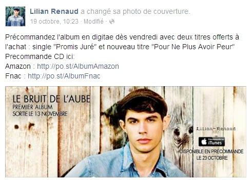 Lilian s'est adressé à ses fans via son compte Facebook pour leur prévenir que l'album est disponible en précommande sur Amazon et la Fnac.