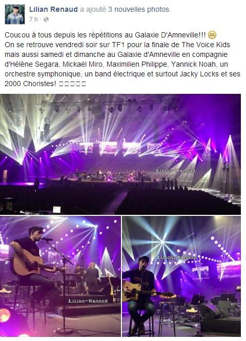 Lilian s'est adressé à ses fans via son compte Facebook pour leur montrer quelques photos des répétitions au Galaxie d'Amnéville.