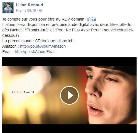 Lilian s'est adressé à ses fans via son compte Facebook pour leur prévenir que son album est en précommande sur Amazon et la Fnac.