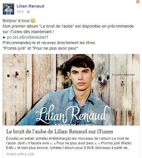 """Lilian s'est adressé à ses fans via son compte Facebook pour leur prévenir que son premier album """"Le bruit de l'aube"""" est disponible en précommande."""
