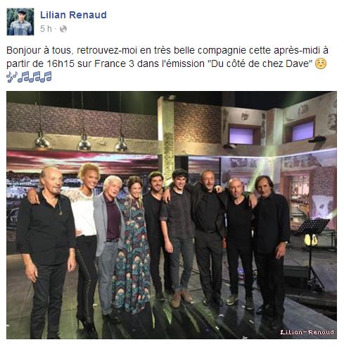 """Lilian s'est adressé à ses fans via son compte Facebook pour le retrouver cette après-midi à partir de 16h15 sur France 3 dans l'émission """"Du côté de chez Dave""""."""