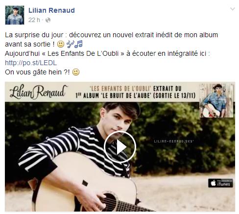 """Lilian s'est adressé à ses fans via son compte Facebook pour le faire découvrir un nouvel extrait inédit de son album """"Les Enfants De l'Oubli""""."""