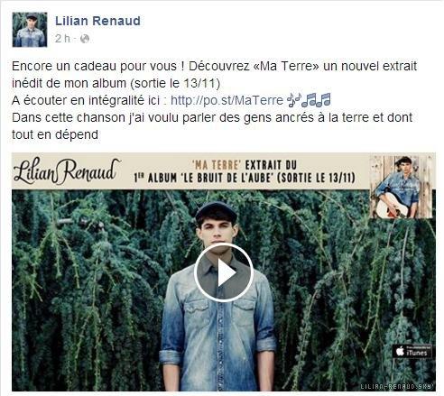 """Lilian s'est adressé à ses fans via son compte Facebook pour le faire découvrir un nouvel extrait inédit de son album """"Ma terre""""."""
