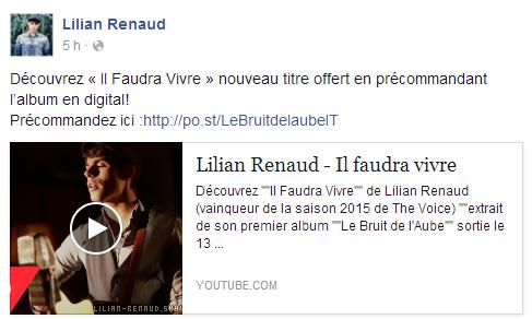 """Lilian s'est adressé à ses fans via son compte Facebook pour le faire découvrir son nouveau titre """"Il faudra vivre"""" de son album."""