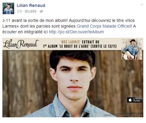 """Lilian s'est adressé à ses fans via son compte Facebook pour le faire découvrir son nouveau titre """"Nos Larmes"""" de son album."""