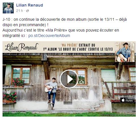 """Lilian s'est adressé à ses fans via son compte Facebook pour le faire découvrir son nouveau titre """"Ma prière"""" de son album."""