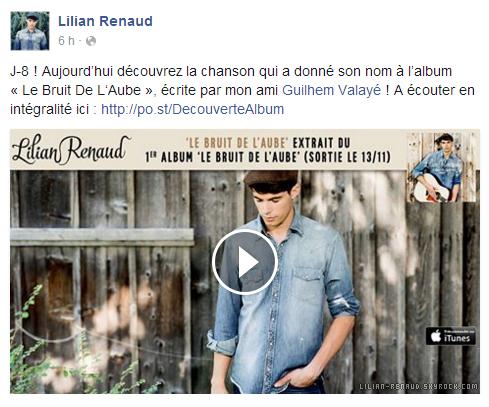 """Lilian s'est adressé à ses fans via son compte Facebook pour le faire découvrir son nouveau titre """"Le Bruit De L'Aube"""" de son album."""