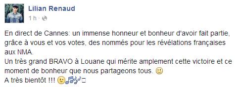 Lilian s'est adressé à ses fans via son compte Facebook pour le faire part de sa joie d'avoir assister au NRJ MUSIC AWARDS.