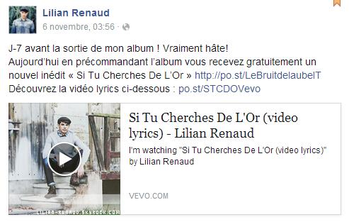 """Lilian s'est adressé à ses fans via son compte Facebook pour le faire découvrir son nouveau titre """"Si Tu Cherches De L'Or"""" de son album."""