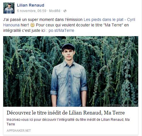 """Lilian s'est adressé à ses fans via son compte Facebook pour le faire découvrir son titre """"Ma Terre"""" de son album."""