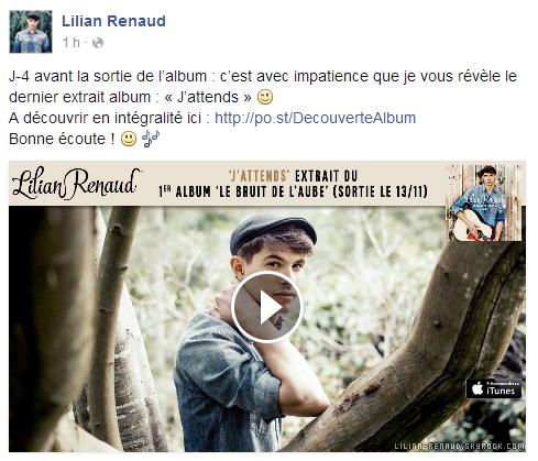 """Lilian s'est adressé à ses fans via son compte Facebook pour le faire découvrir son nouveau titre """"J'attends"""" de son album."""