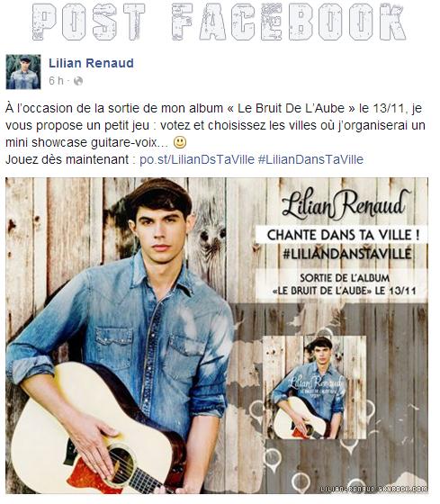 Lilian s'est adressé à ses fans via son compte Facebook pour le faire une petite surprise.