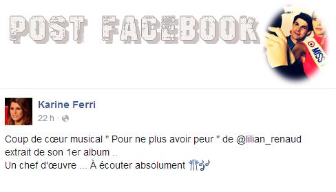 """Alors que l'album de Lilian sort dans deux jours, le 13/11. Karine Ferri a un véritable coup de coeur musical pour """"Pour Ne Plus Avoir Peur""""."""