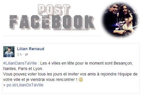 Lilian s'est adressé à ses fans via son compte Facebook pour le faire découvrir les 4 villes en tête pour le moment.
