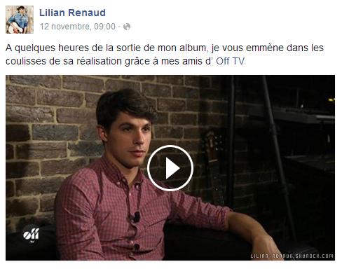 """Lilian s'est adressé à ses fans via son compte Facebook pour le faire découvrir les coulisses de la réalisation de son album """"Le Bruit De L'Aube""""."""